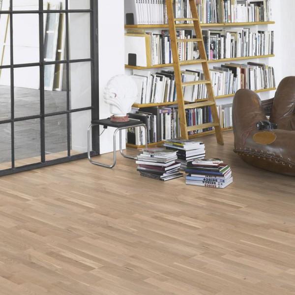 PARADOR Parkett Eiche Rustikal Schiffsboden 3-Stab lackversiegelt matt weiß | Markenaktion | 14,5 m²