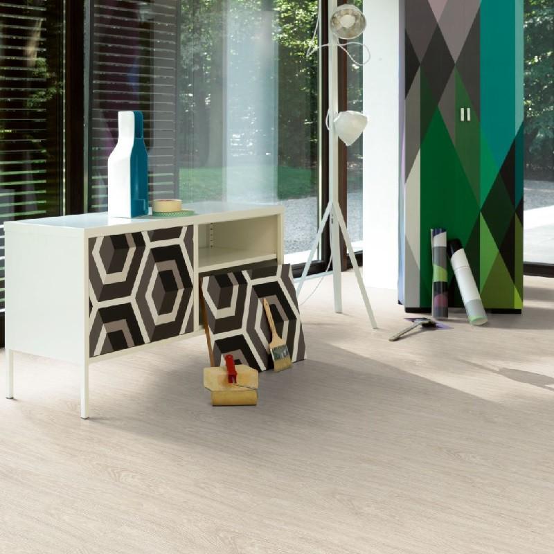 PARADOR Laminat Eiche gekälkt weiß Landhausdiele 4-seitige Mini-V-Fuge | Basic 600 | 17 m²