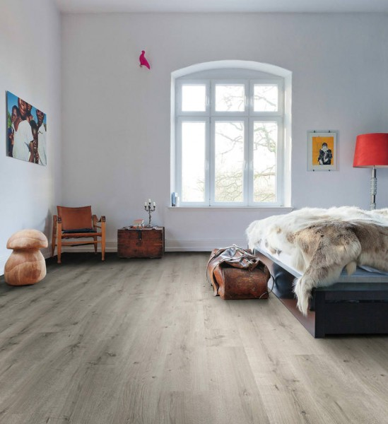 HARO Laminat Eiche Breda hellgrau strukturiert matt Landhausdiele | Daily Edition