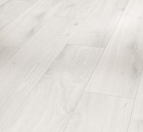 PARADOR Laminat Eiche kristallweiß Landhausdiele Holzstruktur 4-seitige V-Fuge | Basic 400