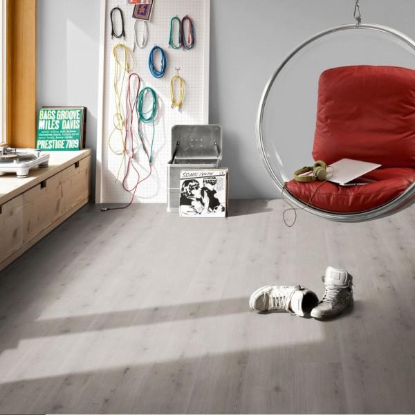 PARADOR Vinylboden Eiche Urban grau gekälkt Schloßdiele 4-seitige Fase | Modular ONE