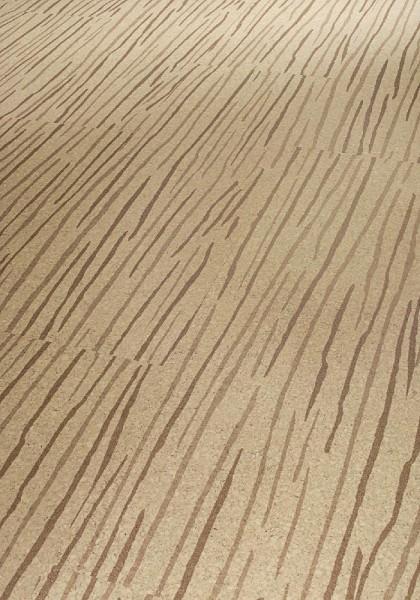 SCHULTE RÄUME Korkboden Streifer braun auf creme lackiert | 13,5 m²